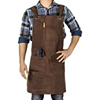 Waxed Canvas Heavy Duty Shop Apron With Pockets Adjustable up to XXL for Men and Women in Gift Box - Texas Canvas Wares…