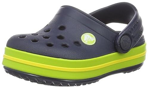 5d78535d1 crocs Unisex Kid s Crocband Clog K Navy Volt Green Clogs-C10 (204537)