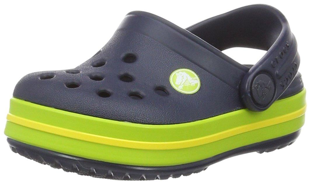 Crocs Kids Crocband Croslite Slip On Clog Navy/Volt Green-Navy-12