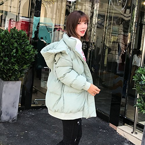 Xuanku Cotton Ladies' Category Harajuku Bread Winter Clothes Loose Short, Feather Cotton Coat Jacket light green