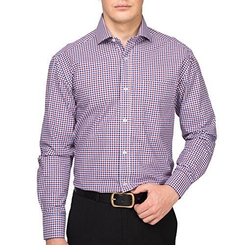 Alex Vando Mens Dress Shirts Cotton Regular Fit Long Sleeve Spread Collar Shirt,Blue/Red,15.5 - Alex Four Blue