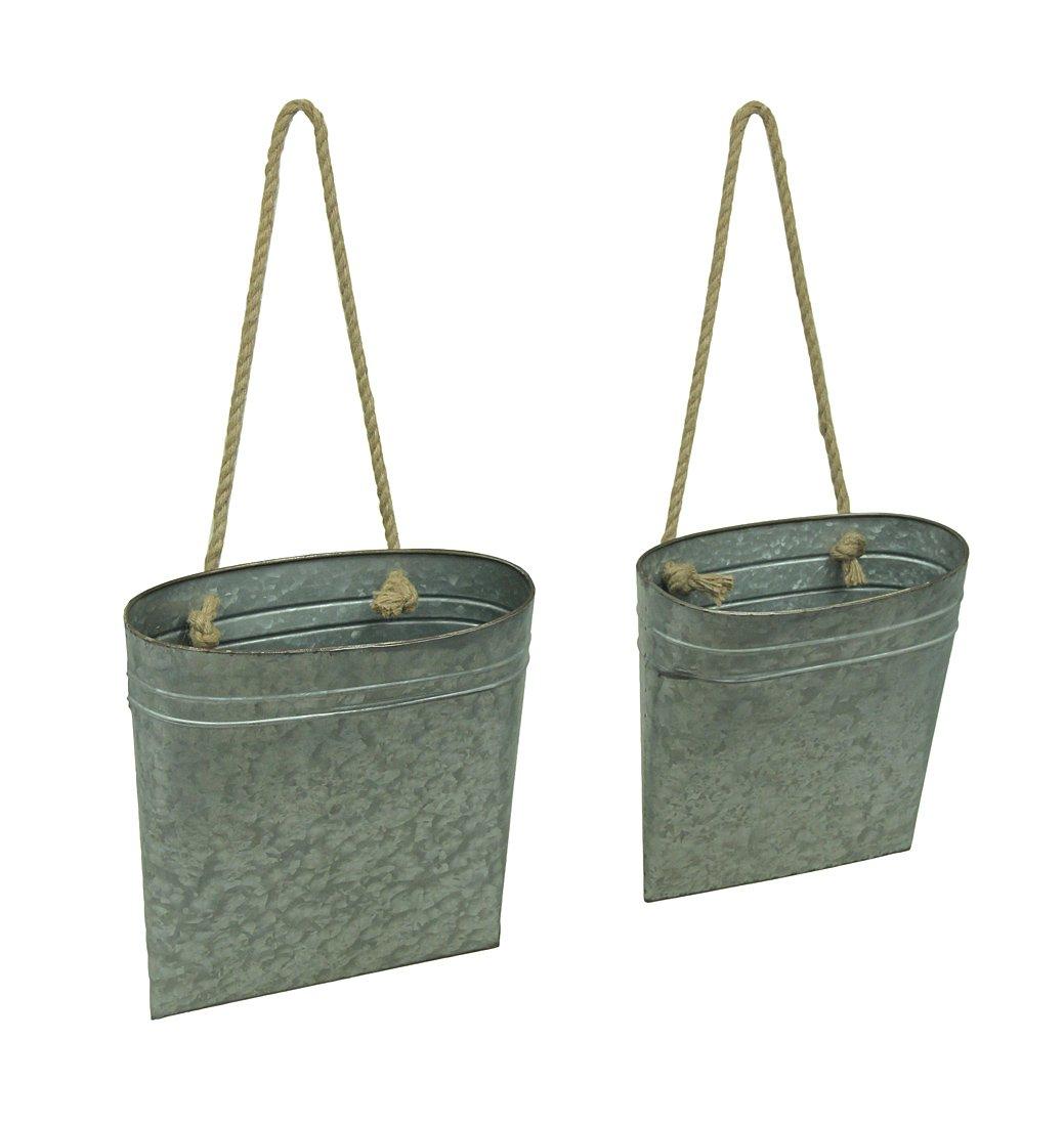 Galvanized Metal Hanging Basket Set of 2 Indoor/Outdoor Planters