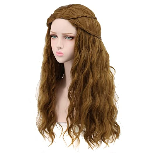 70s Headbands, Wigs, Hair Accessories Yuehong Long Wavy Brown Curly Braid Natural Synthetic Hair Wigs for Hlloween Cosplay Costume Wig $19.99 AT vintagedancer.com