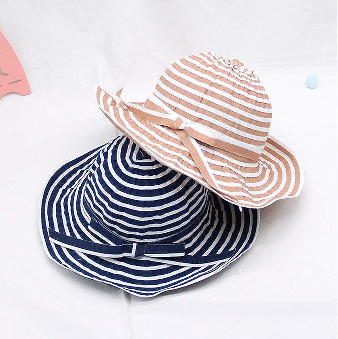 Little Girls Kids Striped Wide Brim Sun Protection Hat Foldable Beach Sun Hats