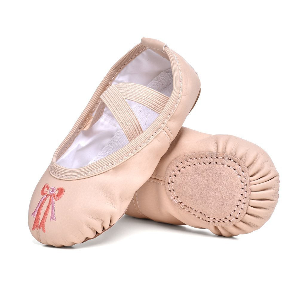 STELLE Girls Ballet Practice Shoes, Yoga Shoes for Dancing(Nude, 10M Toddler)