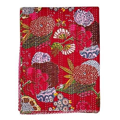 Real Online Seller Indian Kantha Blanket, Queen Quilt, Bird Print Kantha Throw, Handmade Kantha Embroidered Bedspread