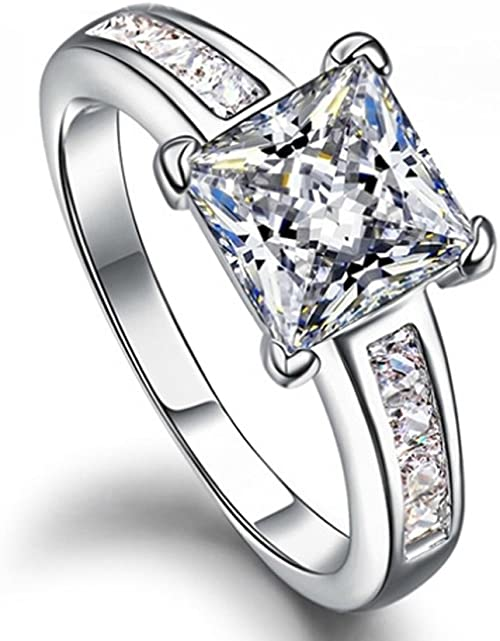 Amazon Com Ring Diamond Square Wedding Of 18k White Gold Plated