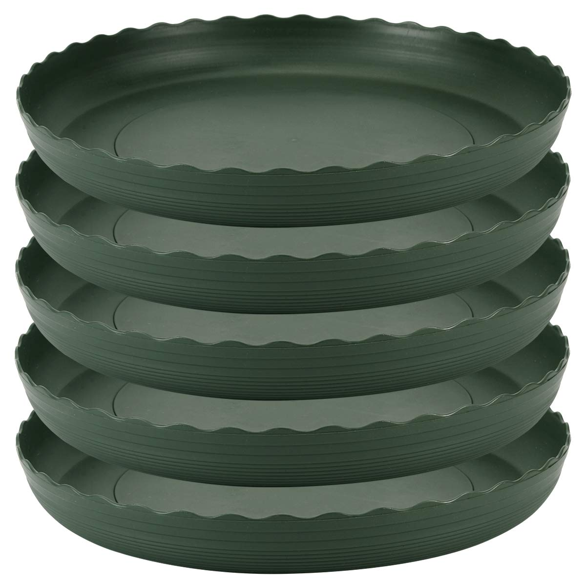 Plant Saucer 10 inch Drip Trays Green Plastic Tray Saucers Indoor Outdoor Flower Pot Round (10 in x 5 Pack) by TITE