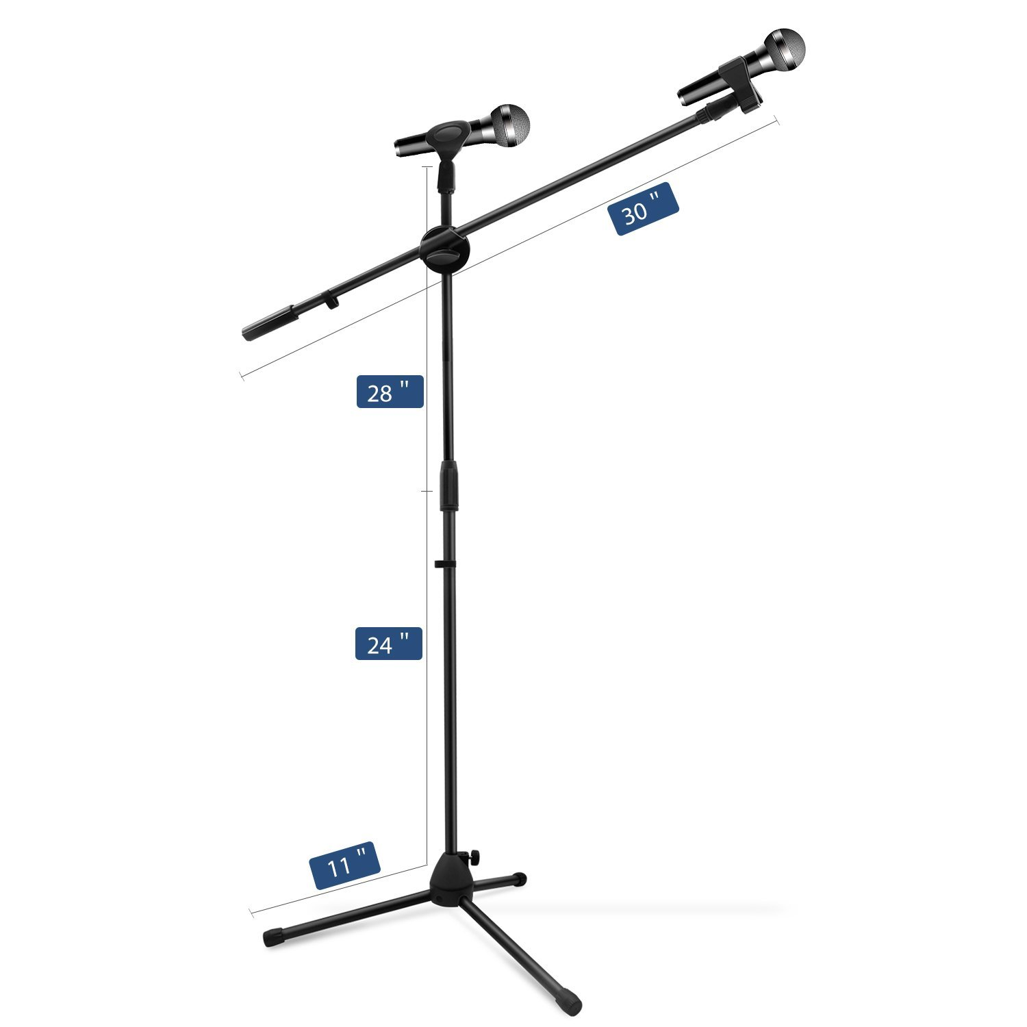 Microphone Stand, Ohuhu Tripod Boom Mic Stands with 2 Mic Clip Holders, Adjustable, Collapsible, Black by Ohuhu (Image #2)