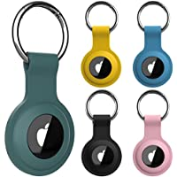 [5 Pack] Protective Case for AirTag 2021, Silicone Airtag Holder with Anti-Lost Keychain, Finder Items for Dogs Keys…