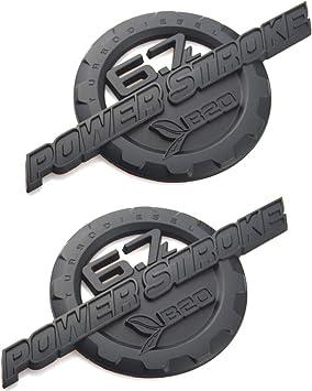 2PCS 6.7L Powerstroke Turbo Diesel Door Emblem 3D logo Power stroke Badge Replacement for 2011-2016 F250 F350 Matte Black