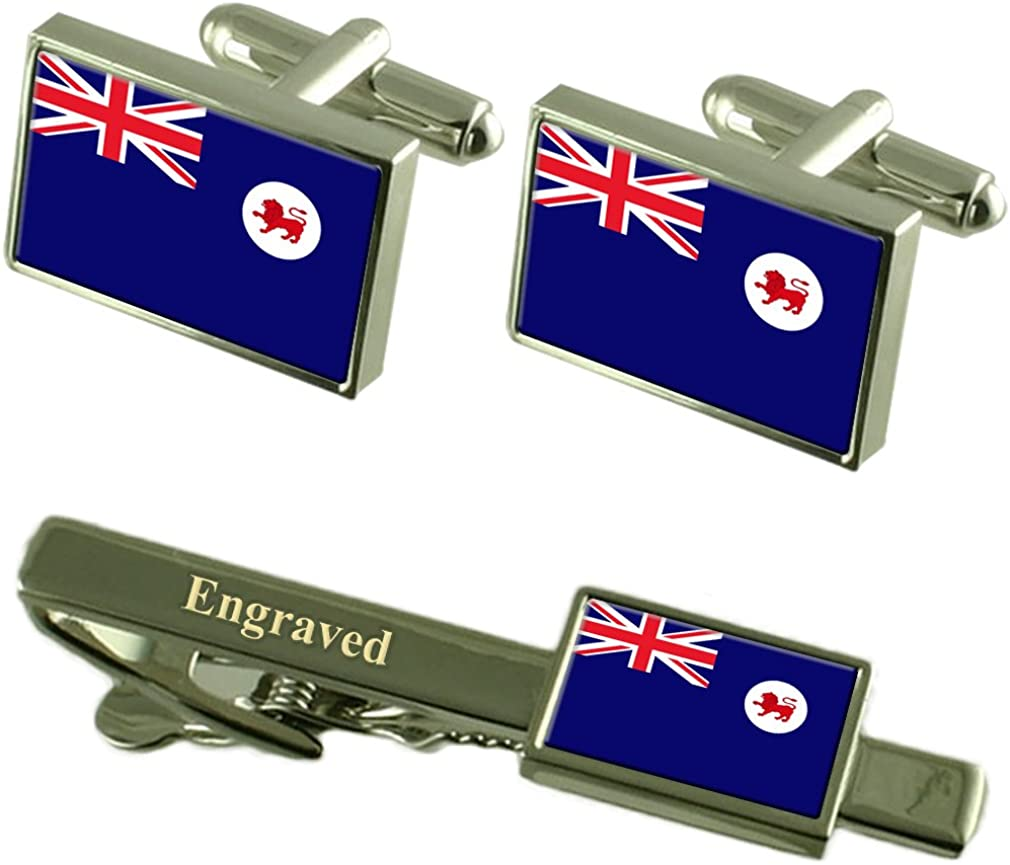 Select Gifts Tasmania Flag Cufflinks Engraved Tie Clip Matching Box Set