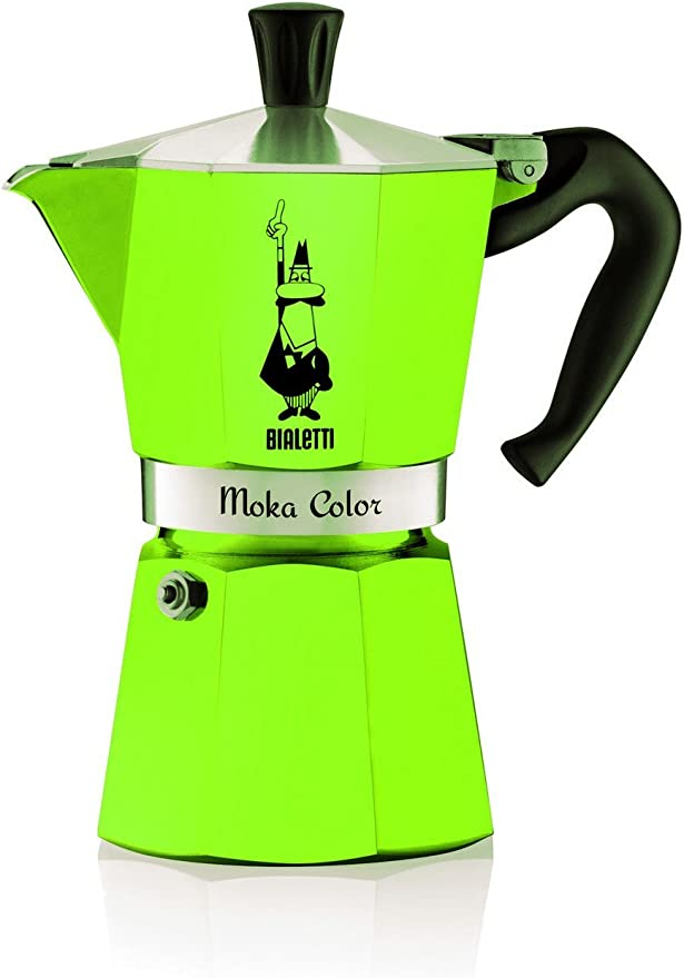Bialetti Moka Color Espresso Coffee Maker (6 Cups, Green)