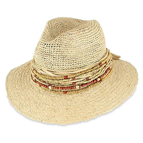 men's Summer Raffia Straw Fedora Hat (One Size, Natural) (Band Raffia)
