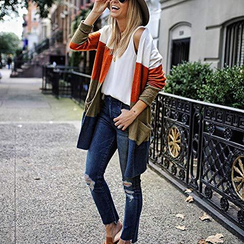 Hiver nbsp; Bloc Femme Blouse Pullover Shobdw Capuche Blouson Mode Orange À Couleur Pull Longue Tricoté Manteau Manche Veste Poches De Hoodie Tops XxAxqIR