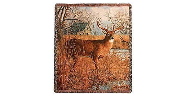 "WOODLANDS- WILDLIFE THROWS LODGE /""MAJESTIC DEER/"" TAPESTRY THROW"