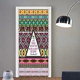 Gzhihine custom made 3d door stickers Ethnic Tribal Travel Adventure Boho Hippie Decor For Room Decor 30x79