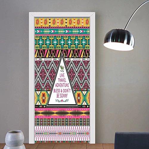 Gzhihine custom made 3d door stickers Ethnic Tribal Travel Adventure Boho Hippie Decor For Room Decor 30x79 by Gzhihine