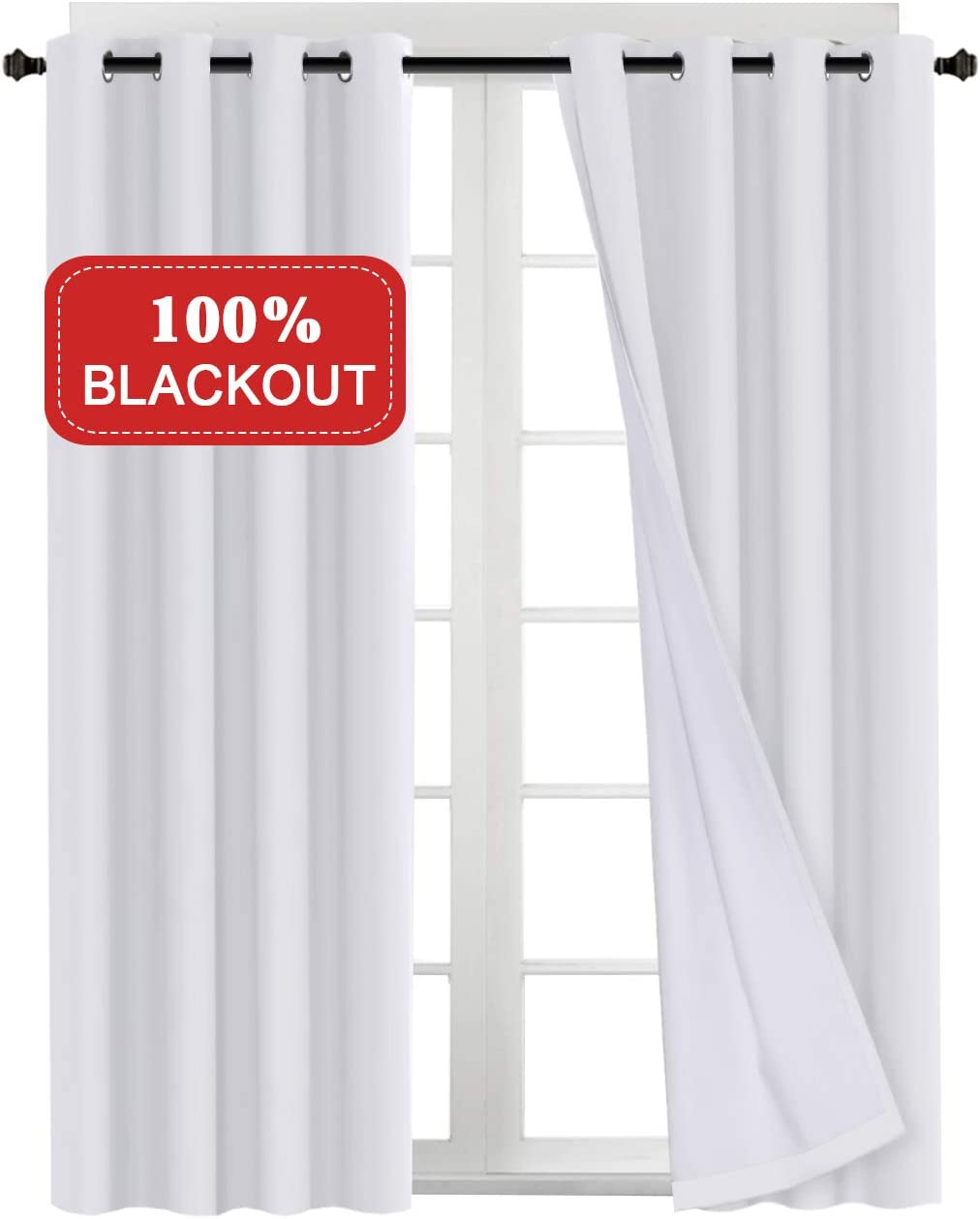 """Turquoize Full Blackout White Curtains with White Liner Thermal Insulated Waterproof Window Treatment Panels for Living Room/Bedroom, 2 Tie-Backs 96 Inch Long Blackout Drapes, 52"""" W x 96"""" L"""