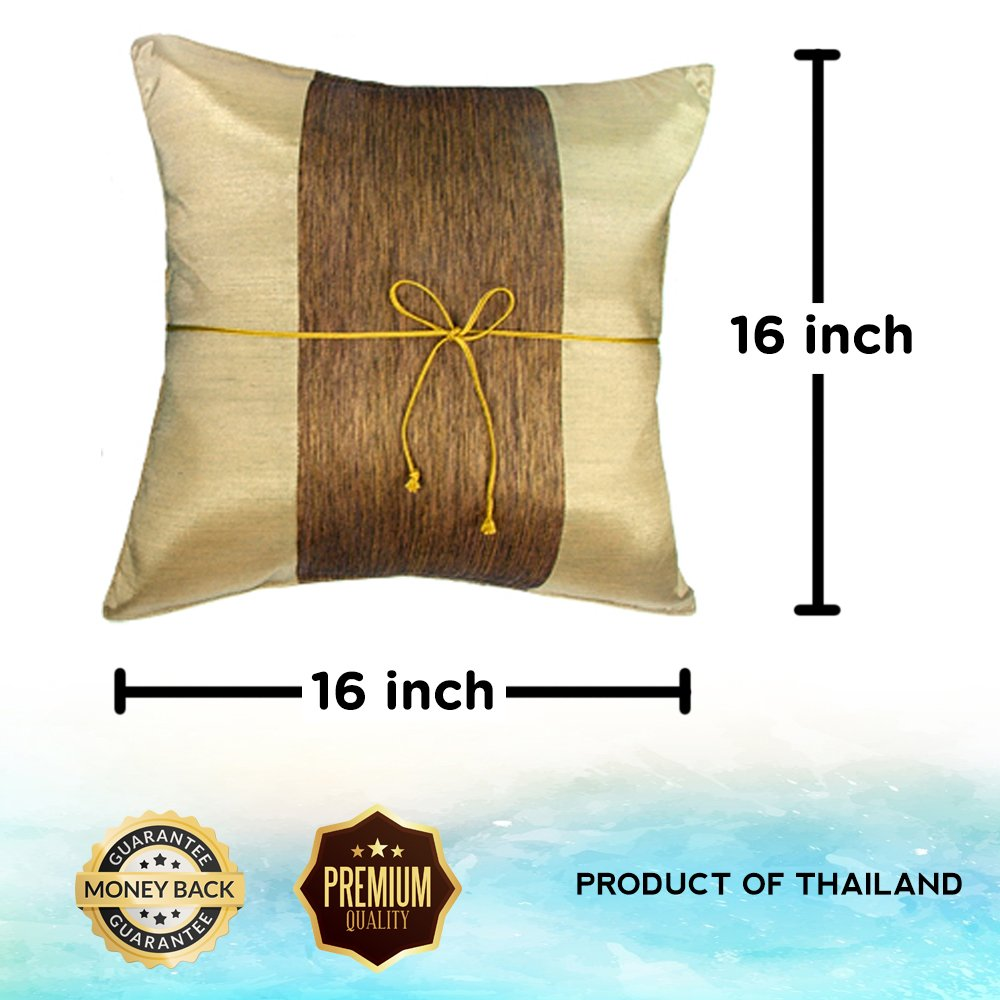 Middle Stripe Gift Recommend PC04A05/_S Artiwa Chocolate Brown 16x16 Decorative Silk Throw Pillow Cover
