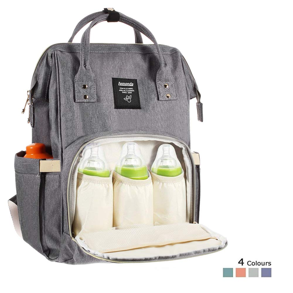 Lemonda Multi-Function Waterproof Diaper Bag Travel Backpack Nappy Bags for Baby Care, Large Capacity, Stylish and Durable (Dark Grey)