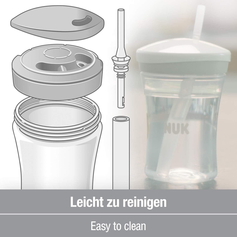 12+ meses a prueba de fugas 1 cuenta pajita para beber suave NUK Action Cup taza para ni/ños peque/ños transparente sin-BPA 230ml