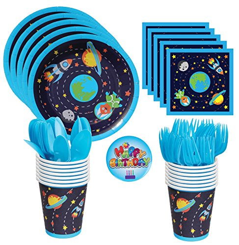Astronaut and Outer Space/Solar System/Rocket Party Supplies- Includes Large Premium Strength Dinner Plates, Cups, Napkins, Forks and Spoons for 24 Guests with a Birthday pin (Rocket Birthday)