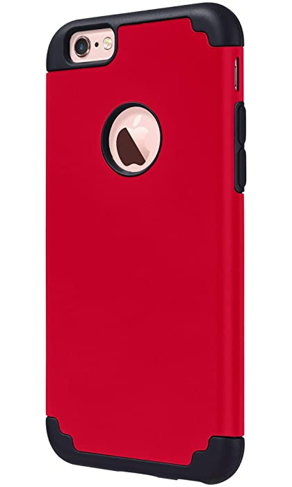 ULAK iPhone 6S Case,iPhone 6 Case, Slim Fit Dual Layer Soft Silicone & Hard Back Cover Bumper Protective Shock-Absorption & Skid-Proof Anti-Scratch Case for Apple iPhone 6 / 6S 4.7 inch-Red/Black