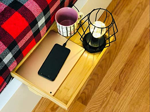 Roy Power Bedside Shelf, Loft Bed Floating Nightstand Organizer, Adjustable Bed Stand Tray,Minimalist Style Bedshelfie, Bamboo Natural Color, for Cellphone Tablet Remote Drink Books