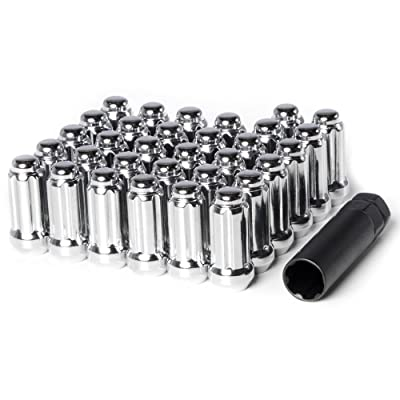 """Circuit Performance 9/16"""" Chrome Closed End 6 Spline Security Acorn Lug Nuts Cone Seat Forged Steel (32 Pieces + Tool): Automotive"""