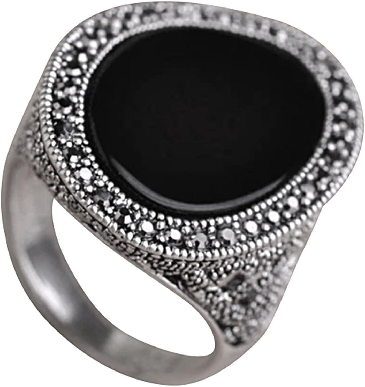 HAVANA Black Oval Design Turkish Jewelry Emerald Resin Crystal Antique Silver Statement Royal Metal Ring 7