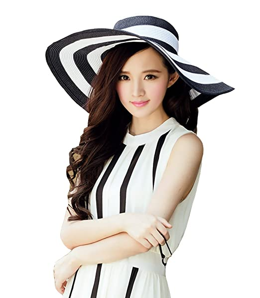 88e4f2f86df Summer Female Sun hat Classic Black and White Stripes Along The Beach Hat  (Black and
