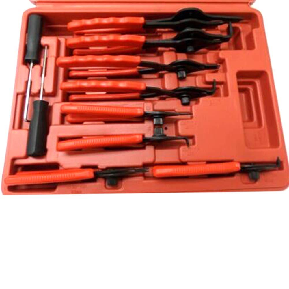 rot 11-teiliges Sprengringzangen-Set Mechanic Pro Sicherungsringe mit Tasche f/ür Auto LKW Motorrad