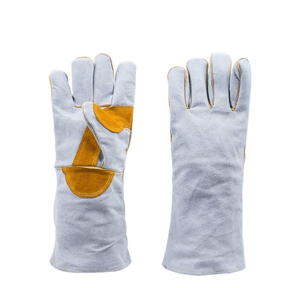 IRVING Electric welding, durable, heat-insulating, wear-resistant, breathable, fire-resistant gloves, high temperature, long argon arc welding, durable (Design : Style two)