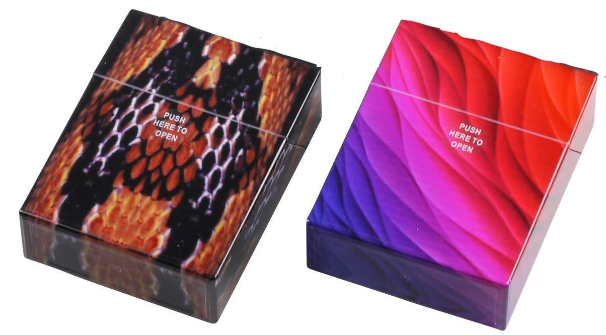 Gr. L metallic Rot 2 x Zigarettenbox Doppelset je 20 Zigaretten Silber Etuis
