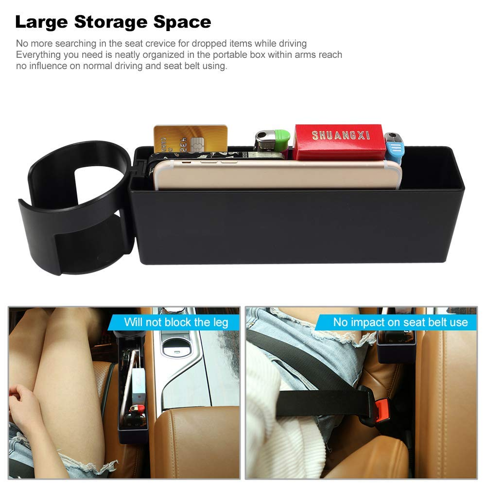 Coin Box and 2 USB Charging Ports for Automotive Interior Accessories AUCD Car Console Side Pocket Seat Crevice Storage Organizer Seat Gap Pocket Organizer with Non-Slip Mat Beige