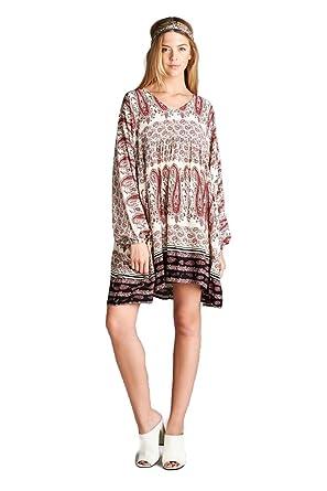 3d75c0f0ff92 Velzera Paisley V-Neck Tunic Mini Dress Boho Chic at Amazon Women's Clothing  store: