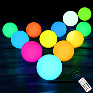 KJOY Upgrade 12pack Floating Pool Lights, RF Remote, IP67 Full Waterproof, Color Changing Glow Balls Lights, Battery Operated, Light Up Bath Toys, Night Light, Decor Lights Outdoor Indoor Christmas