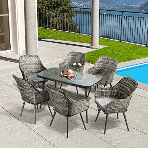 PAMAPIC 7 PCS Patio Dining Set, Outdoor Rattan Furniture Set, Wicker Sectional Seat Cushioned Sofa. Indoor Dining Table, Decoration for Patio, Garden Lawn, Indoor, Backyard, Pool. Grey