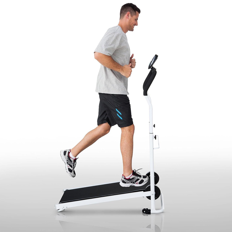 Soozier Foldable Manual Walking Treadmill Health Fitness Equipment Cardio Workout Machine w//Wheels Home Gym