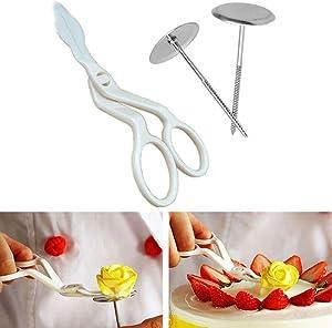 Aranher(TM) 3Pcs Piping Flower Scissors+Nail Icing Bake Cake Cupcake Pastry Decorating Tools