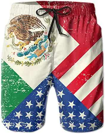 be2ad6519b498 TE-REX Mens Mexico Mexican USA America Flag Summer Breathable Swim Trunks  Beach Shorts Board