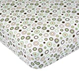 Carter's Easy Fit Printed Crib Fitted Sheet, Ecru/Brown Circles, Baby & Kids Zone