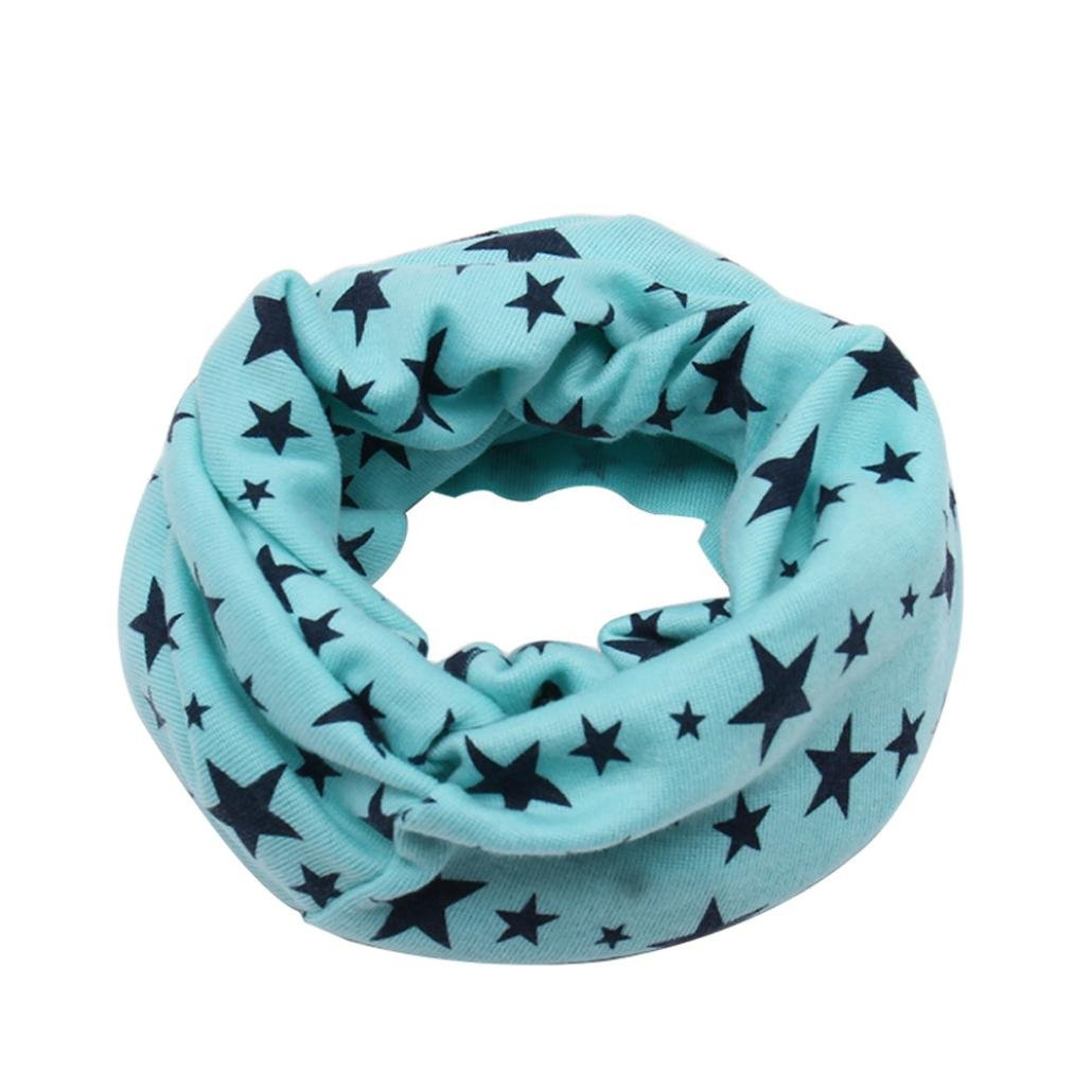 Molyveva Kids Warm Cotton Infinity Scarf Shawl Winter Star Print Neckerchief