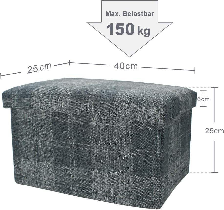 Blu Tartan Soggiorno Pouf Ottomano rettangolare imbottito Seat Poggiapiedi 40 cm x 25 cm x 25 cm con 24 litri Cesun Tartan Plaid Pieghevole Piccolo Poggiapiedi