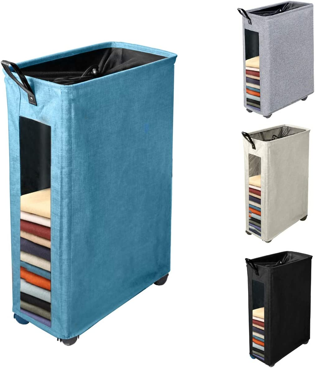Henkelion Rolling Laundry Hamper, Collapsible Laundry Basket with Wheels and Handles, Tall Large Slim Narrow Foldable Storage Corner Bin with Visible Clear Window for Dirty Clothes - 27 Inches - Blue