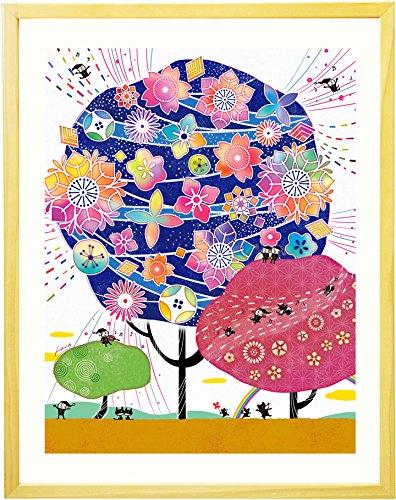 喜寿祝い 古希祝い プレゼント 絵画アート 「しあわせ花音 藍色」【名前入れ可Mサイズ】 傘寿祝い お祝い 米寿祝い 母 父 女性 男性 紫 誕生日 花 贈り物 B01GM8LEJO  - Mサイズ