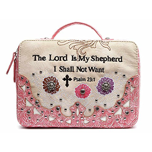 - Western Style Country Bible Cover Cross Embroidered Scripture Bible Verse Psalm Rhinestone Books Case (Fuchsia)