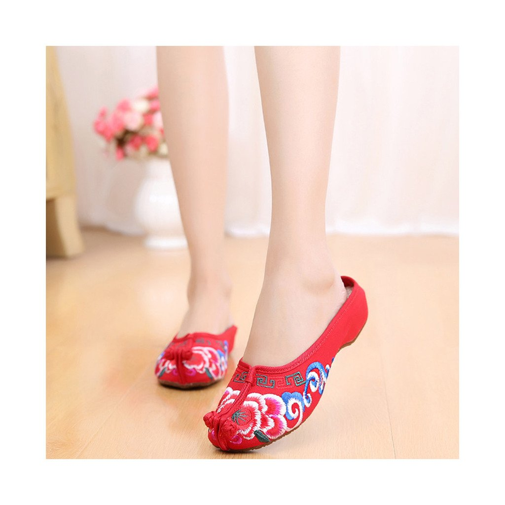 Beijing Cloth Shoes National Style Vintage Embroidered Shoes Flax Cloth Woman Home Slippers red