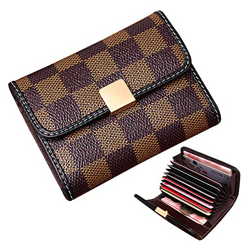 Wallet Purse Accordion (Auner Women's Small Rfid Credit Card Holder Case Wallet Cute Leather Coin Purse (Brown))